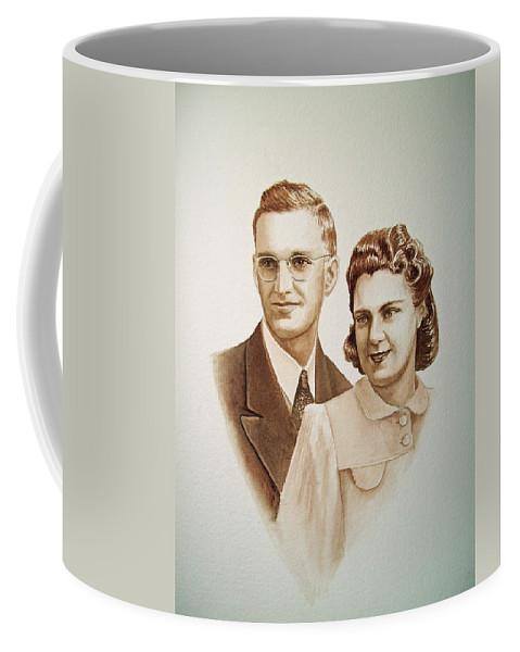 Anniversary Coffee Mug featuring the painting 70 Years Together by Irina Sztukowski