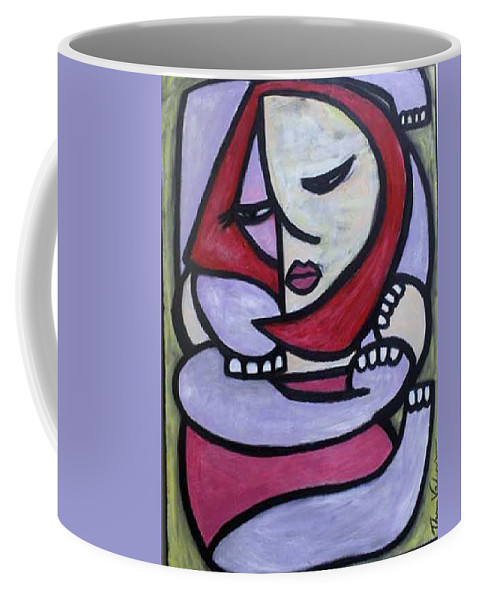 Abstact Coffee Mug featuring the painting Hugs by Thomas Valentine