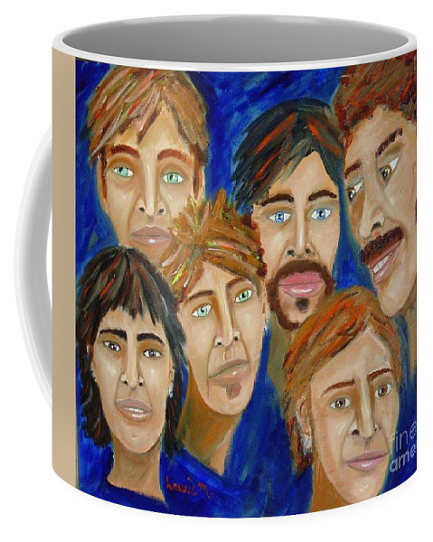 Portrait Coffee Mug featuring the painting 70s Band Reunion by Laurie Morgan