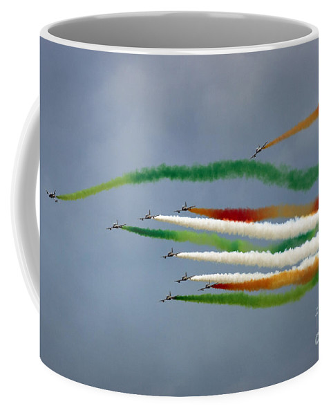 Frecce Tricolori Coffee Mug featuring the photograph Frecce Tricolori by Angel Tarantella
