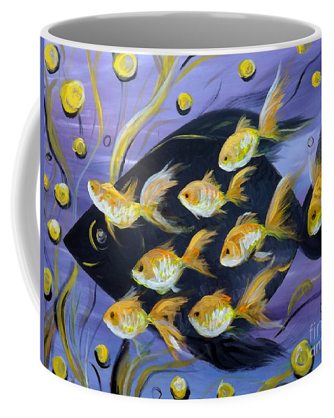 Fish Coffee Mug featuring the painting 8 Gold Fish by Gina De Gorna