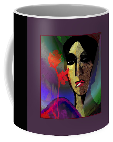 859 Coffee Mug featuring the digital art 859 - Smoking May Damage Your Beauty 2017 by Irmgard Schoendorf Welch