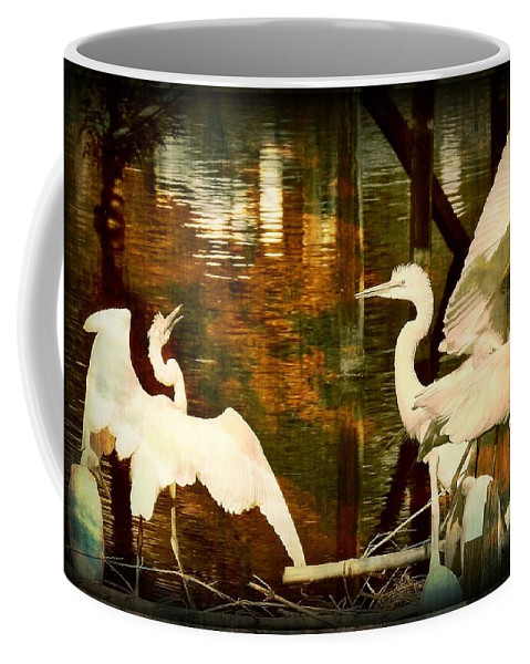 Bird Coffee Mug featuring the photograph 9 Egrets by Leslie Revels