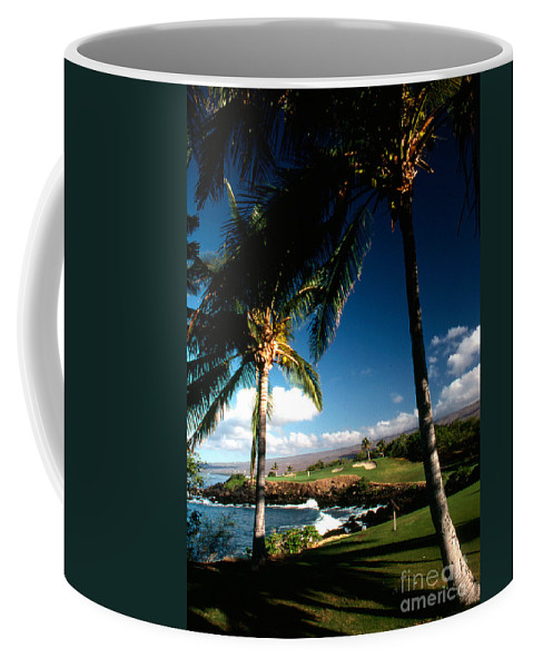 Hawaii Scenes Coffee Mug featuring the photograph 9th Hole Mona Kea by Norman Andrus