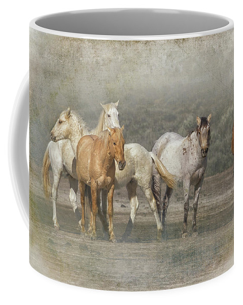 Wild Horses Coffee Mug featuring the photograph A Band Of Horses by Belinda Greb