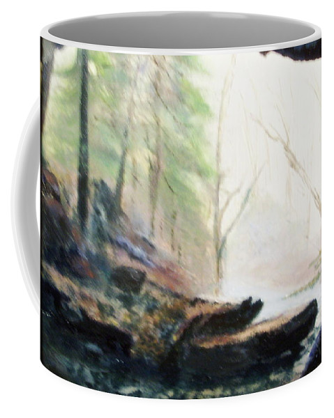 Cave Coffee Mug featuring the painting A Bears View by Gail Kirtz