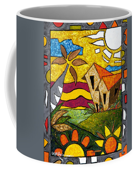 Puerto Rico Coffee Mug featuring the painting A Beautiful Day by Oscar Ortiz