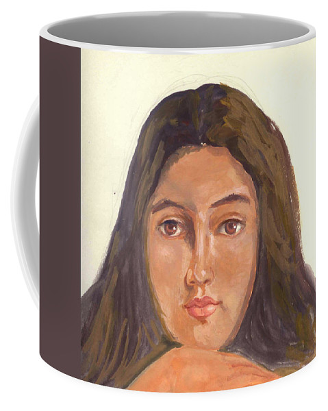 A Young Indian Girl Coffee Mug featuring the painting A Beautiful Girl by Asha Sudhaker Shenoy