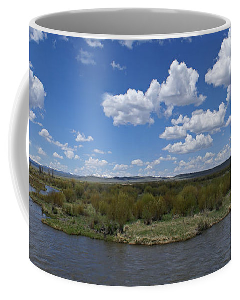 River Coffee Mug featuring the photograph A Bend In The River by Heather Coen