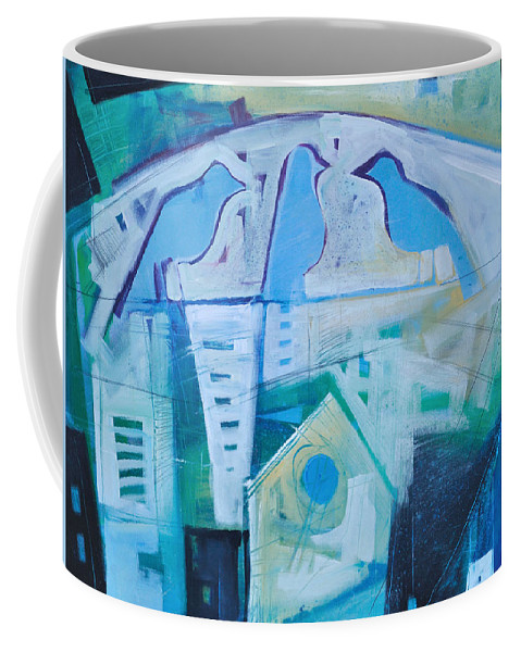 Birds Coffee Mug featuring the painting A Birds Life by Tim Nyberg