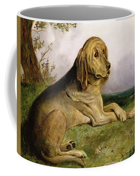 Bloodhound Coffee Mug featuring the painting A Bloodhound In A Landscape by English school