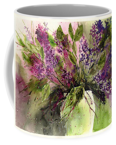 Floral Coffee Mug featuring the painting A Bouquet Of May-lilacs by Suzann Sines