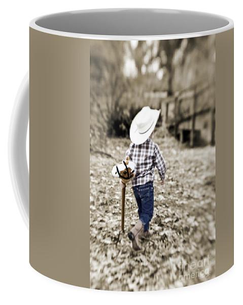 Boy Coffee Mug featuring the photograph A Boy and his Horse by Scott Pellegrin