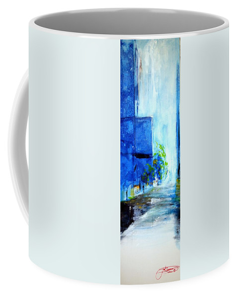 Blue Coffee Mug featuring the painting A Break In The Storm by Jack Diamond