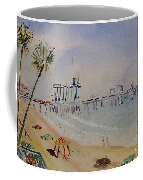 Painting Coffee Mug featuring the painting A California Pier by Eleanor Robinson