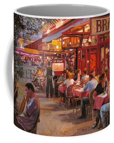 Street Scene Coffee Mug featuring the painting A Cena In Estate by Guido Borelli