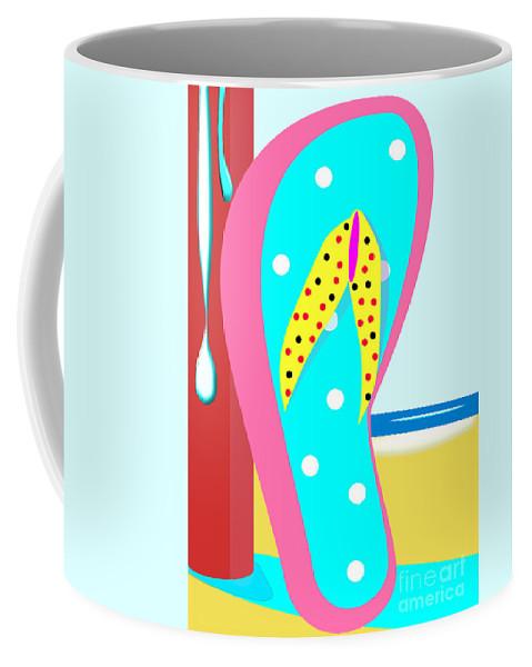 Chancla Coffee Mug featuring the digital art A Chancla On The Beach by Jon Fennel