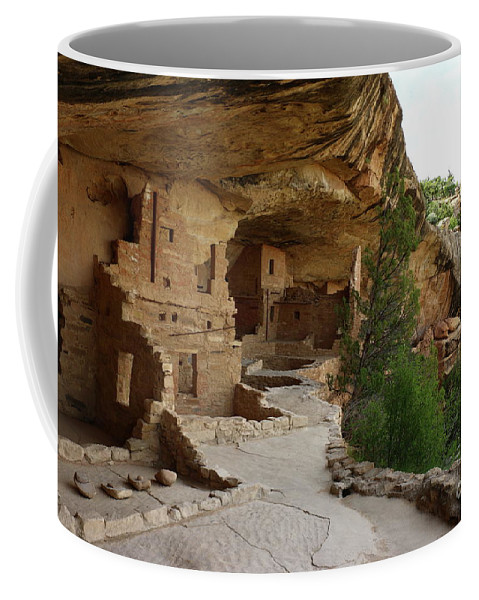 Mesa Coffee Mug featuring the photograph A Cliff Dwelling - Balcony House Mesa Verde by Christiane Schulze Art And Photography