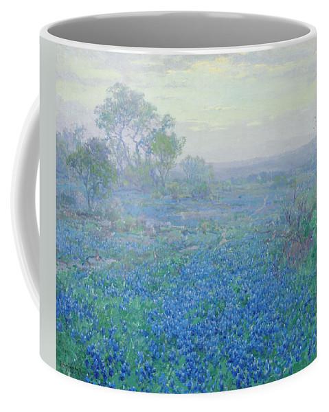 Blue Bonnets Coffee Mug featuring the painting A Cloudy Day, Bluebonnets Near San Antonio, Texas by Julian Onderdonk