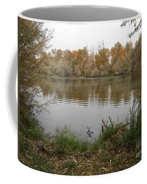Landscape Coffee Mug featuring the photograph A Cloudy Day On The Pond by LKB Art and Photography