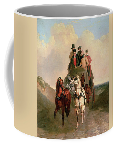 Bal15225 Coffee Mug featuring the painting A Coach And Four On An Open Road by William Snr Shayer