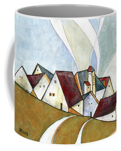 Original Art Coffee Mug featuring the painting  A Cold Day by Aniko Hencz
