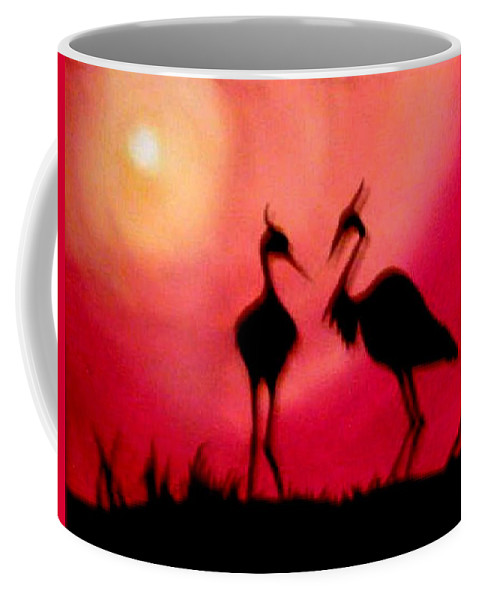 Swans Coffee Mug featuring the painting A Conversation by Glory Fraulein Wolfe