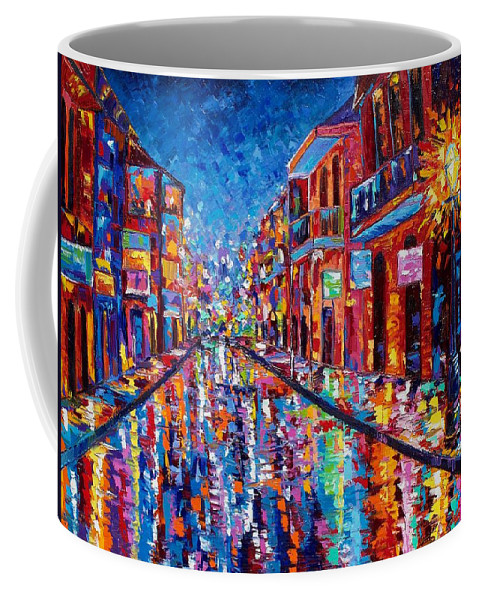 New Orleans Coffee Mug featuring the painting A Cool Night On Bourbon Street by Elaine Adel Cummins