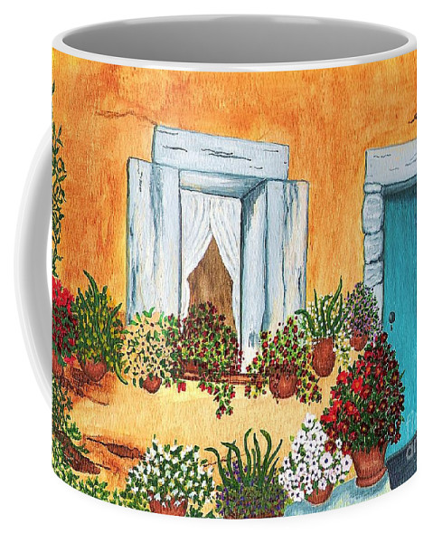 Watercolor Painting Coffee Mug featuring the painting A Cottage In The Village by Patricia Griffin Brett