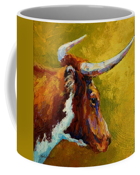 Western Coffee Mug featuring the painting A Couple Of Pointers - Longhorn Steer by Marion Rose
