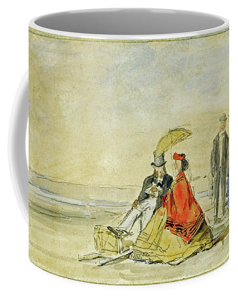 Eugene Boudin Coffee Mug featuring the painting A Couple Seated And A Couple Walking On The Beach by Eugene Boudin
