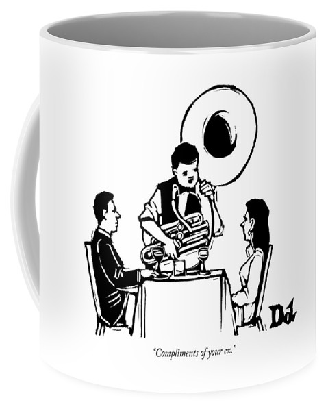 Compliments Of Your Ex. Coffee Mug featuring the drawing A Couple Seated At A Restaurant Face A Man Who by Drew Dernavich