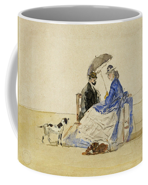 Eugene Boudin Coffee Mug featuring the painting A Couple Seated On The Beach With Two Dogs by Eugene Boudin