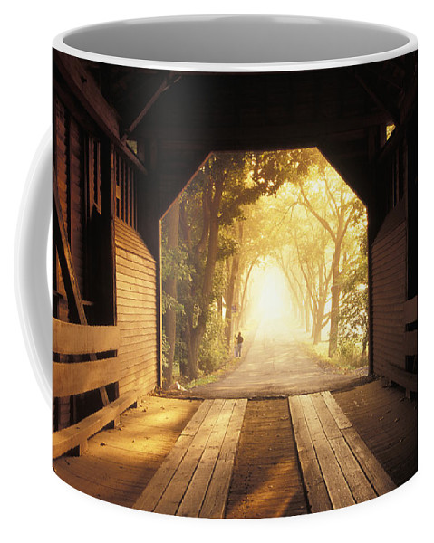 Rural Coffee Mug featuring the photograph A Covered Bridge In New Market by Richard Nowitz