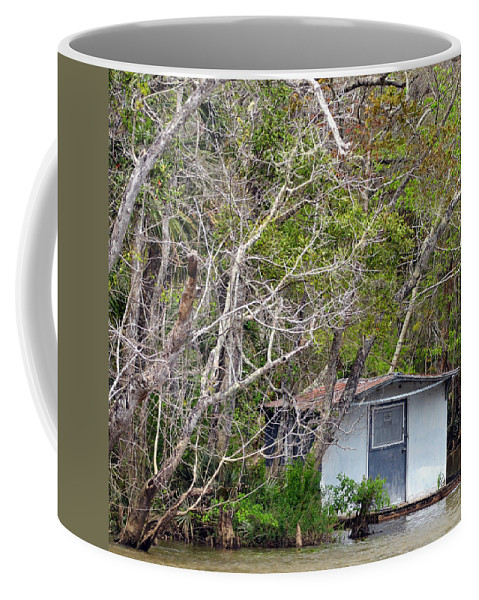 Houseboat Coffee Mug featuring the photograph A Cozy Spot On The Apalachicola River by Carla Parris