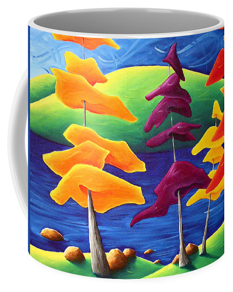 Landscape Coffee Mug featuring the painting A Crowd Gathers by Richard Hoedl