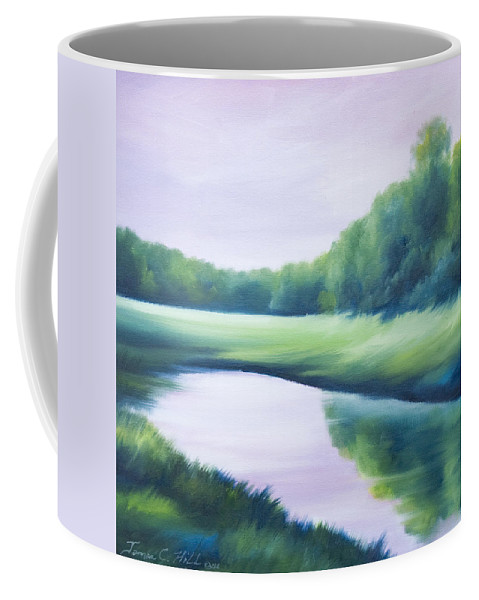 Nature; Lake; Sunset; Sunrise; Serene; Forest; Trees; Water; Ripples; Clearing; Lagoon; James Christopher Hill; Jameshillgallery.com; Foliage; Sky; Realism; Oils; Green; Tree; Blue; Pink; Pond; Lake Coffee Mug featuring the painting A Day In The Life 1 by James Christopher Hill