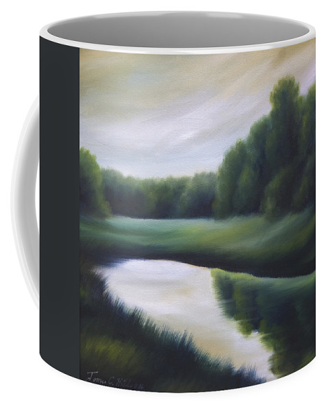 Nature; Lake; Sunset; Sunrise; Serene; Forest; Trees; Water; Ripples; Clearing; Lagoon; James Christopher Hill; Jameshillgallery.com; Foliage; Sky; Realism; Oils; Green; Tree Coffee Mug featuring the painting A Day In The Life 3 by James Christopher Hill