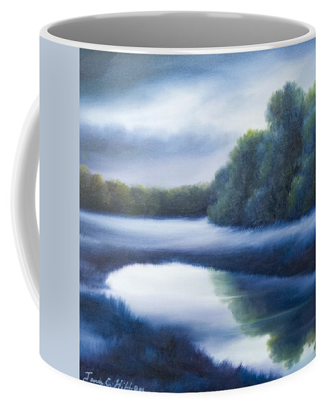 Nature; Lake; Sunset; Sunrise; Serene; Forest; Trees; Water; Ripples; Clearing; Lagoon; James Christopher Hill; Jameshillgallery.com; Foliage; Sky; Realism; Oils; Green; Tree; Blue; Pink; Pond; Lake Coffee Mug featuring the painting A Day In The Life 4 by James Christopher Hill