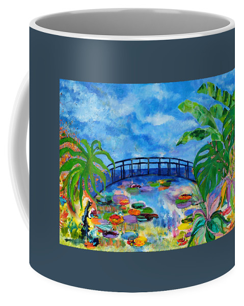 Abstract Coffee Mug featuring the painting A Dinosaur In Monet's Garden by Gail Goren