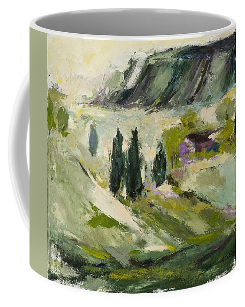 Abstract Art Coffee Mug featuring the painting A Distant Rim by Angela Torrez