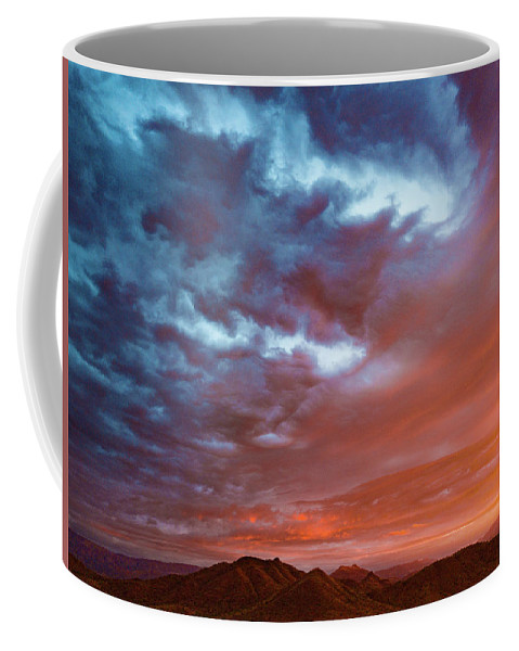 Drone Photography Coffee Mug featuring the photograph A Divided Sky At Sunset by David Stevens