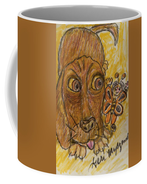 Dog Coffee Mug featuring the painting A Dog And It's Bumblebee by Geraldine Myszenski