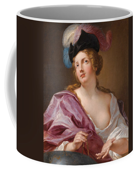 Jacques Francois Courtin Coffee Mug featuring the painting A Female Astronomer With A Globe And A Pair Of Compasses by Jacques Francois Courtin