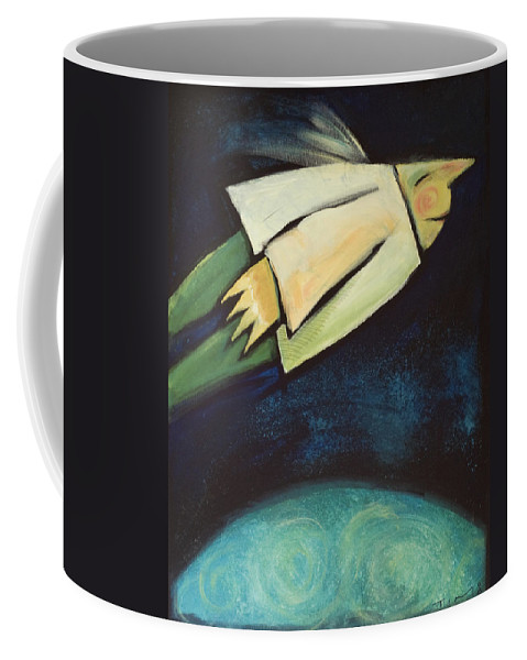 Universe Coffee Mug featuring the painting A Finger Two Dots Then Me by Tim Nyberg