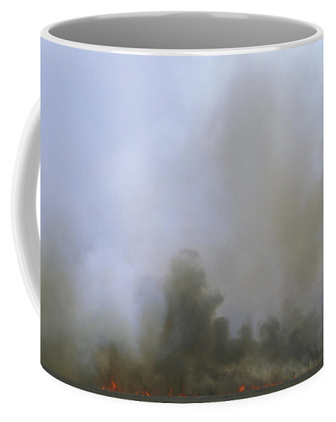 Fire Coffee Mug featuring the photograph A Fire Burns In The Marsh On Ocracoke by Stephen Alvarez