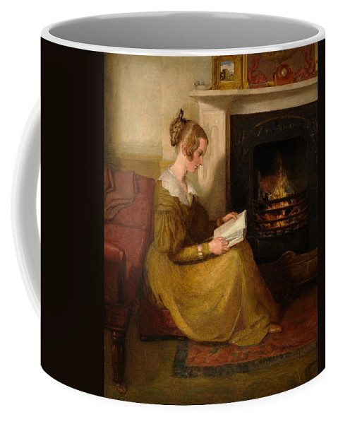 A Fireside Read Coffee Mug featuring the painting A Fireside Read by William Mulready