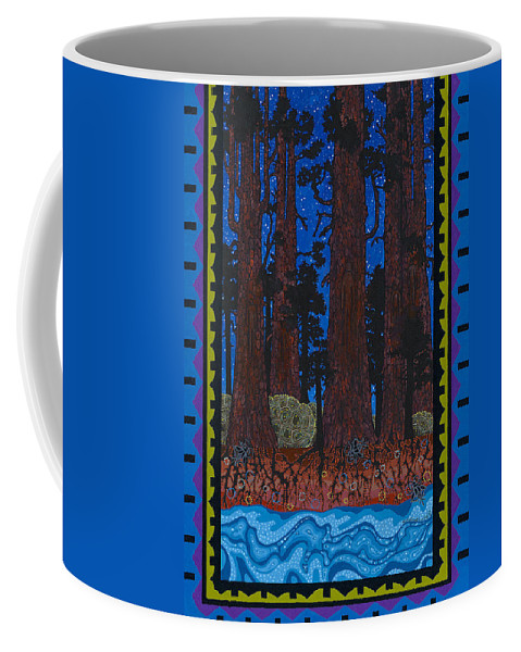 Native American Coffee Mug featuring the painting A Forest Whispers by Chholing Taha