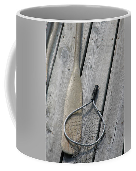Net Coffee Mug featuring the photograph A Fisherman's Tools by Kelly Mezzapelle