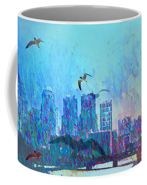 Seagulls Coffee Mug featuring the photograph A Flock Of Seagulls by Bill Cannon